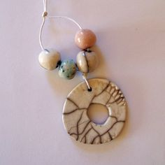 Ceramic beads raku beads and raku pendant by EarthbutterStudio, $15.00