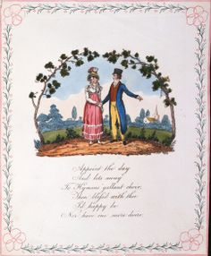 """""""Appoint the Day"""" Valentine Card Hand-colored lithograph card, hand painted floral border The British Postal Museum & Archive Somewhere In Time, Floral Border, Historical Romance, Be My Valentine, Choir, Hand Coloring, Archaeology, Hand Painted, Romantic"""