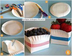 Como fazer um cestinho, utilizando pratinho de papel e fita decorativa!