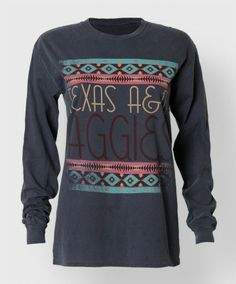 "This navy cotton longsleeve shirt has an art deco vibe to it with geometic patterns an period font that reads ""Texas AM Aggies"". Jean Outfits, Cute Outfits, Fashion Outfits, Texas A&m, Sweater Weather, Dress Me Up, Dress To Impress, What To Wear, Long Sleeve Shirts"
