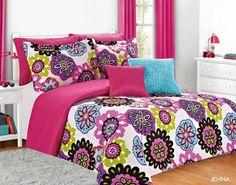 Jenna Teen Girl Comforter Bedding Set Pink Multi Color Floral—Twin 5pc Full 7pc | eBay
