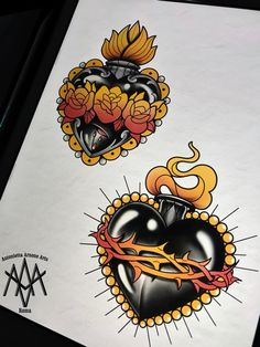 Neo Traditional Roses, Traditional Heart Tattoos, Traditional Tattoo Design, Traditional Tattoo Flash, Black Heart Tattoos, Sacred Heart Tattoos, Tattoo Old School, Sagrado Corazon Tattoo, Flame Tattoos