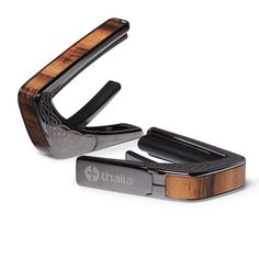 Thalia Capo 200 in Black Chrome Celtic Etched Finish with Figured Hawaiian Koa Inlay www.thaliacapos.com/