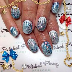 Frozen glitter New Years nails complete with hand painted icicles!