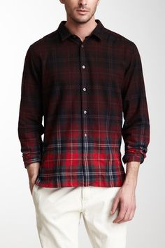well now...that's kind of interesting...  Long Sleeve Overdye Flannel Shirt