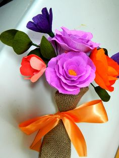 Country Bouquet  Wrapped in burlap  Tangerine and  by papercatz