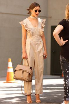 28 May Olivia Culpo was elegant in a nude, ruffled jumpsuit for an outing in Los Angeles.   - HarpersBAZAAR.co.uk