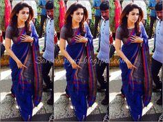 Nayanthara in a saree blouse Saree Blouse Patterns, Saree Blouse Designs, Indian Beauty Saree, Indian Sarees, Kerala Saree, Indian Dresses, Indian Outfits, Western Outfits, Sari Bluse