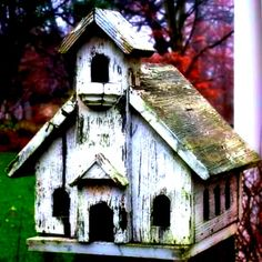 Antique Church Bird House with Lovely Old Patina, covered in moss. we have several big old bird houses