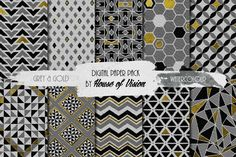 Grey Geometric Watercolor Pack by House of Vision on Creative Market