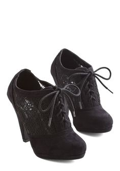 Numerous Occasions Heel in Black. With their Oxford-inspired design and crocheted sides, these black heels are perfect for a plethora of outings. #black #modcloth