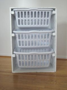 garage laundry idea. good space saver. also, you wouldnt have to guess if you had enough for a whole load. put it on wheels and its perfect for an apartment.