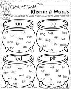 March Kindergarten Worksheets - Rhyming Words