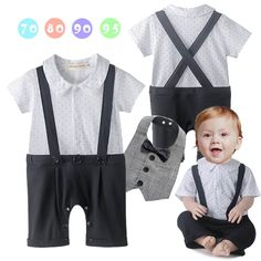 2016 New Baby Boy Romper Infant Gentleman Star Short Sleeve Jumpsuit Plaid Bib Outfit Sets Baby Clothing 12085
