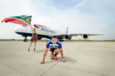 Man V Plane South Africa Star Bryan Habana Races An Airbus A380 British Airways Airbus A380 South Africa