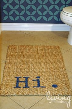 "Easy custom painted ""talking"" rug via MakelyHome.com"