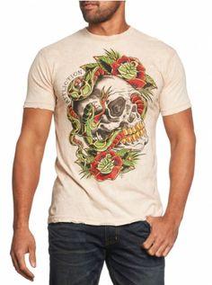 "Men's ""Matt Kerley"" Tee by Affliction (Sand Denim Acid Wash) #InkedShop #skull #snake #tee #roses #clothing #menswear #top #style"