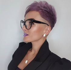 gorgeous 1 Rose Gold Short Hair, Short Dyed Hair, Short Hair Cuts, Short Hair Styles, Mohawk Hairstyles, Short Black Hairstyles, Grey Hair Don't Care, Really Short Hair, Hairstyles With Glasses