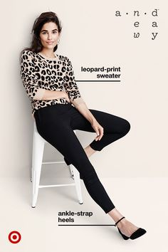 Let A New Day mix up your fall sweater-and-pants uniform with pieces that are a bit more chic: a cool leopard-print sweater, slim black pants and these heels with a sleek ankle strap.