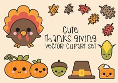 High quality vector clipart. Kawaii Thanksgiving Clipart. Cute Thanksgiving vector clip art. Perfect for creating greeting cards,invitations