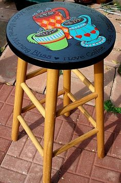 Need yo do this on kitchen stools w/paint and decoupage Handpainted coffee cups on bar stool. Painted Bar Stools, Hand Painted Chairs, Whimsical Painted Furniture, Hand Painted Furniture, Paint Furniture, Furniture Projects, Furniture Makeover, Furniture Stores, Laminate Furniture