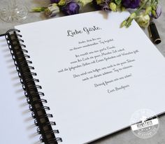 Wedding guest book with questions, customizable Feenstaub.at SHOP - Hochzeit - Wedding Guest Book, About Me Blog, This Or That Questions, Birthday, Weeding, Moment, Celebrations, Future, Gold Weddings