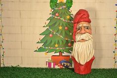 Santa Bust wood carving created and carved by MADellingerCarving