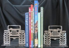 All Things Jeep - Pair of Jeep (Heart Headlights) Bookends, Polished Handcrafted Metal
