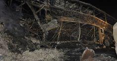 Carreta bate de frente com ônibus e 5 pessoas morrem carbonizadas em MT