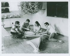 Buckminster Fuller's Architecture class, 1949 Summer Institute, Black Mountain College Courtesy of Western Regional Archives, State Archives of NC