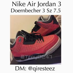 Rare! Up for sale next is a mint condition pair of Nike Air Jordan 3 Doernbecher sneakers in a size 7.5. The pair includes OG all as well as sole protectors applied. To contact the seller for pricing DM: @qiresteez by troyd247