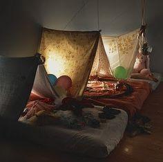 slumber/sleepover party idea - indoor tent beds made of sheets and mattresses Cabana, Indoor Camping, Indoor Tents, Camping Indoors, Fun Indoor Activities, Kid Activites, Deco Kids, Unique Baby Gifts, Slumber Parties