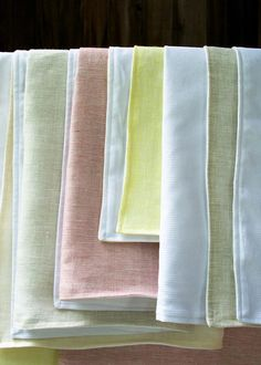 Love the clean look of these hand towels! Robert Kaufman's Baby Waffle Pique and Globalweave's Duo Woven Linen.