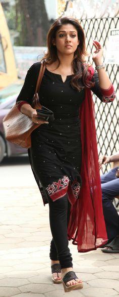 Dress look Like Nayanthara Simple Kurti Designs, Salwar Designs, Kurti Neck Designs, Dress Neck Designs, Kurta Designs Women, Blouse Designs, Indian Attire, Indian Wear, Indian Style