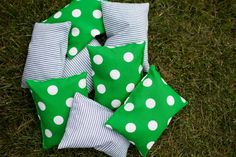 Corn Hole Game Bean Bags // Train Party Game Ideas // Paige Simple // www.paigesimple.com