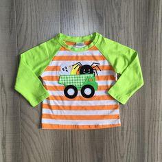 Halloween tee baby boys FALL/AUTUMN raglans boys flea ghost in the car raglans with long green sleeve boys cute clothing