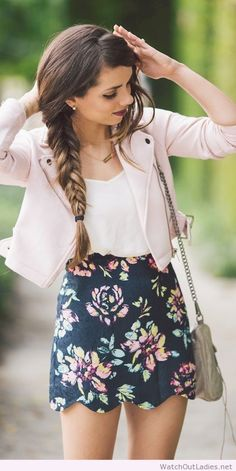 Nice floral prints skirt with pastel pink leather coat