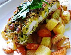 Rotgrønnsaker og urtepanert torsk