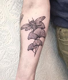 Cicada and ginkgo tattoo. - Black Iris Tattoo, NY