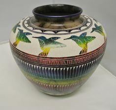 Horse Hair Pottery Hilda Whitegoat Native American Pottery Hummingbird Huge   eBay