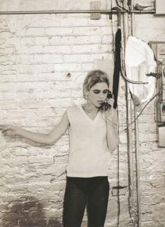"""Edie Sedgewick at The Factory (Edith Minturn """"Edie"""" Sedgwick was an American actress, socialite, fashion model and heiress. She is best known for being one of Andy Warhol's superstars. Wikipedia)"""