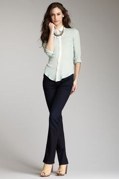 Mint colored blouse Straight Leg Jean