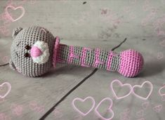 Teddy bear crochet rattle - free pattern