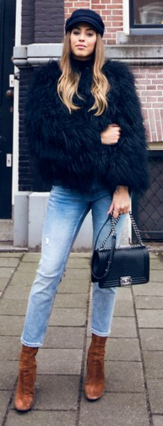#winter #outfits #fashion Faux fur + Kenza Zouiten + navy fur coat + cap + leather ankle boots.  Jacket: Pellobello, Trousers/Shoes: Zara, Sweaer: Ginatricot, Cap: Asos. Cute Winter Outfits.