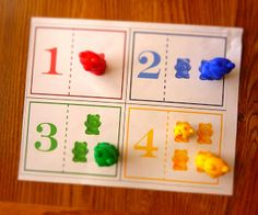 For one of our counting activities last week, I made a printout for Dustin so he could use it with his counting bears. Counting Activities, Alphabet Activities, Preschool Activities, Math Games, Montessori Preschool, Tot School, School Fun, Early Learning, Fun Learning