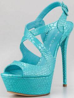 Casadei Snake-Stamped Patent Platform Sandal