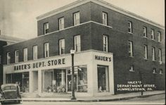 Hauer's Department Store, Hummelstown, PA. Postcard – LC-123 Early 1900′s Black and white photo postcard picturing Houer's Dept. Store – street corner view.