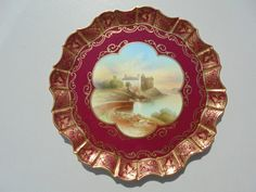 "Old Antique Aynsley Bone China Cabinet Plate ""Linlithgow"" Artist Signed 8 7/8"" 