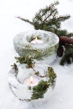 Use clear glass candle holders to bring a touch of ice into your home this winter.