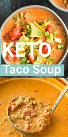 No carb diets 556827941429956699 - This Cheesy Keto Taco Soup is loaded with Mexican flavor and none of the carbs! At less than 6 net carbs per serving this no bean, low carb soup will be your new favorite! Source by maebellsa Ketogenic Recipes, Low Carb Recipes, Diet Recipes, Healthy Recipes, Lunch Recipes, Ketogenic Diet Menu, Ketosis Diet, Easy Soup Recipes, Recipes Dinner